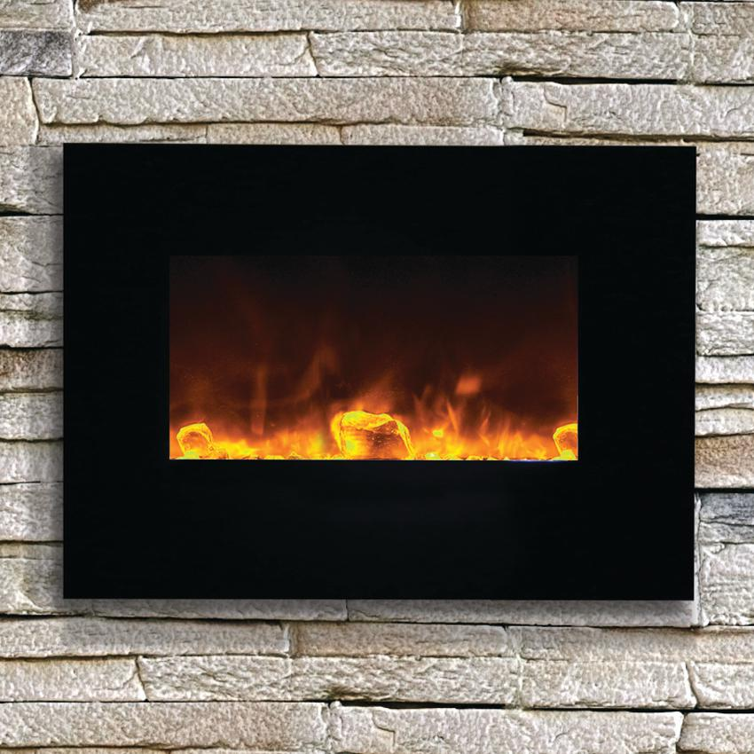 "Amantii Wall Mount/flush Mount 26"" Electric Fireplace With Black Glass Surround - Wm-fm-26-3623-bg"