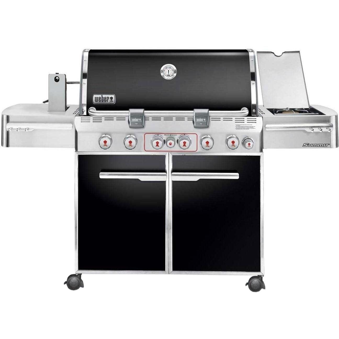 Beau Weber Summit E 670 Propane Gas Grill On Cart With Rotisserie, Sear Burner U0026  Side Burner   ...