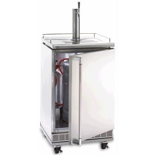 Lynx 5.5 Cu. Ft. Single Tap Outdoor Beverage Dispenser / Kegerator With Casters - Stainless Steel - L24BF