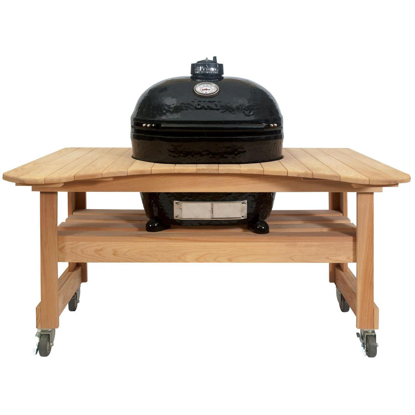 Primo Oval XL Ceramic Kamado Grill On Curved Cypress Table - 778 + 600