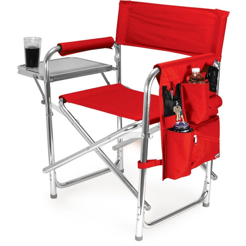 Picnic Time Portable Folding Sports Chair With Side Table - Red at Sears.com