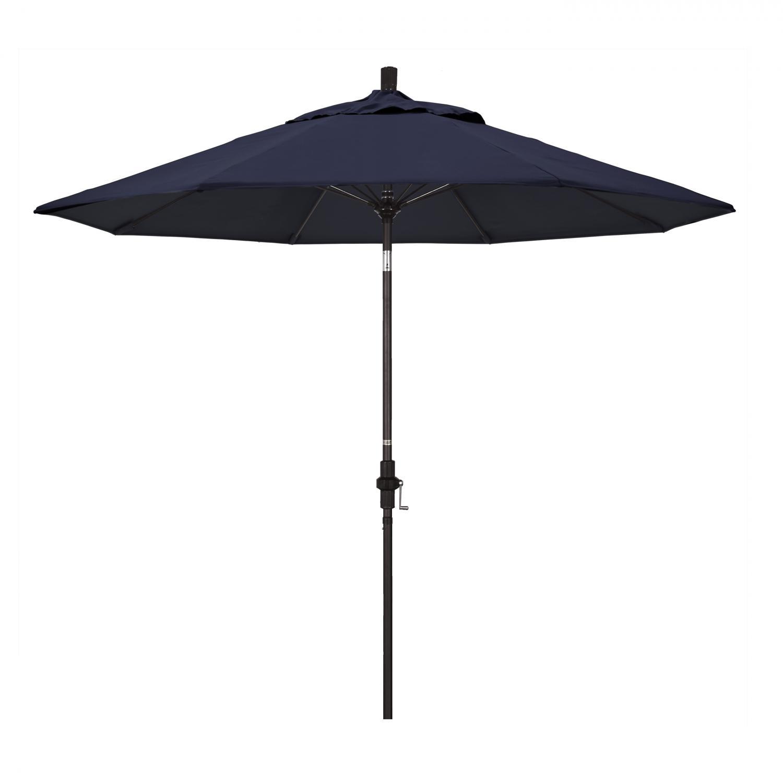California Umbrella 9 Ft. Octagonal Aluminum Collar Tilt Patio Umbrella W/ Crank Lift & Fiberglass Ribs - Bronze Frame / Sunbrella Canvas Navy Canopy