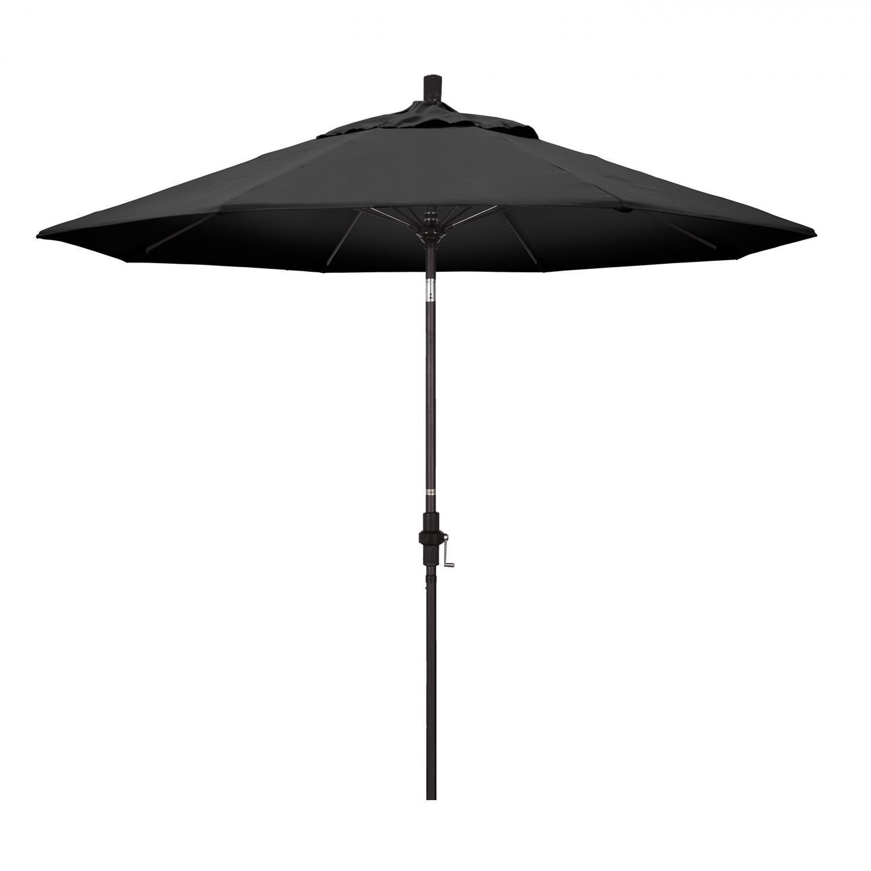 California Umbrella 9 Ft. Octagonal Aluminum Collar Tilt Patio Umbrella W/ Crank Lift & Fiberglass Ribs - Bronze Frame / Olefin Black Canopy