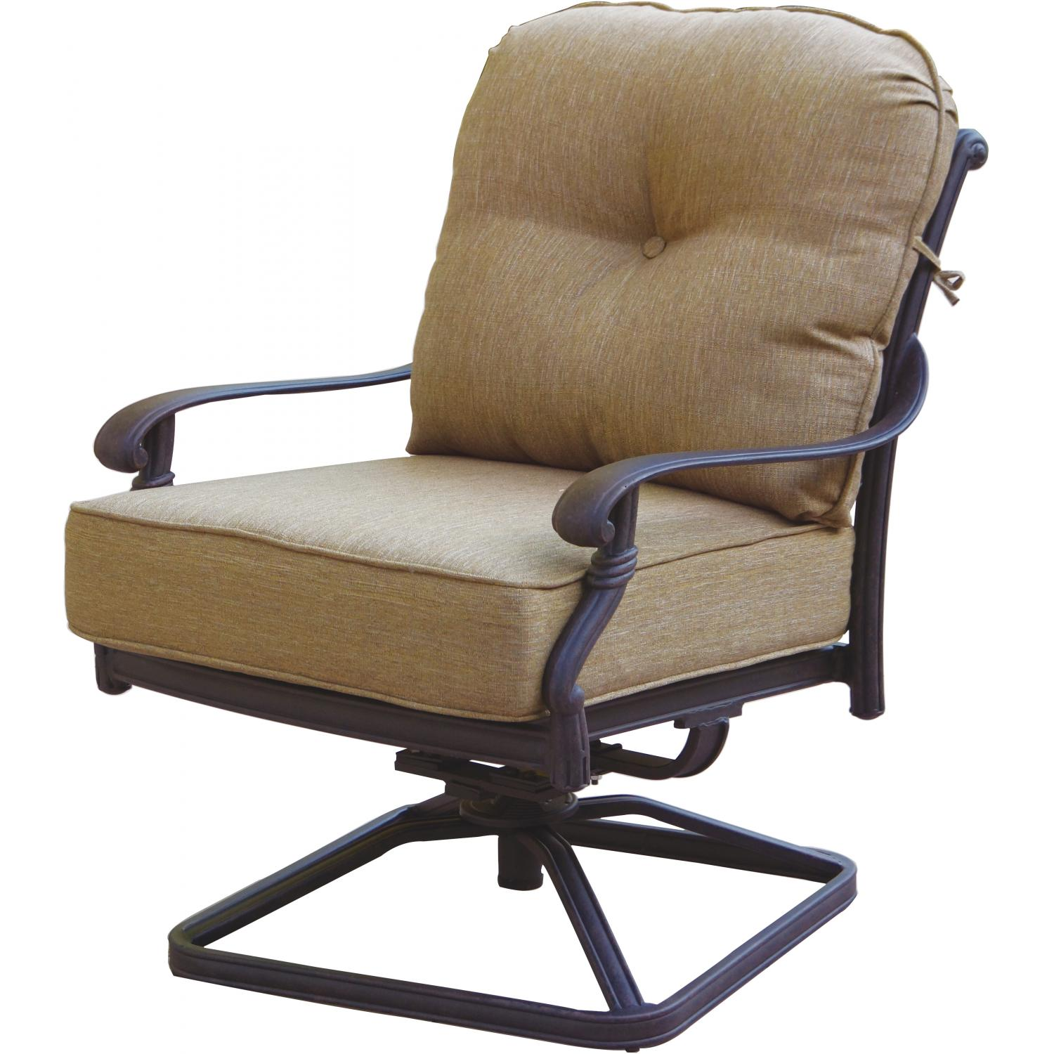 Darlee Santa Monica Cast Aluminum Deep Seating Patio Swivel Rocker Lounge Chair - Antique Bronze at Sears.com
