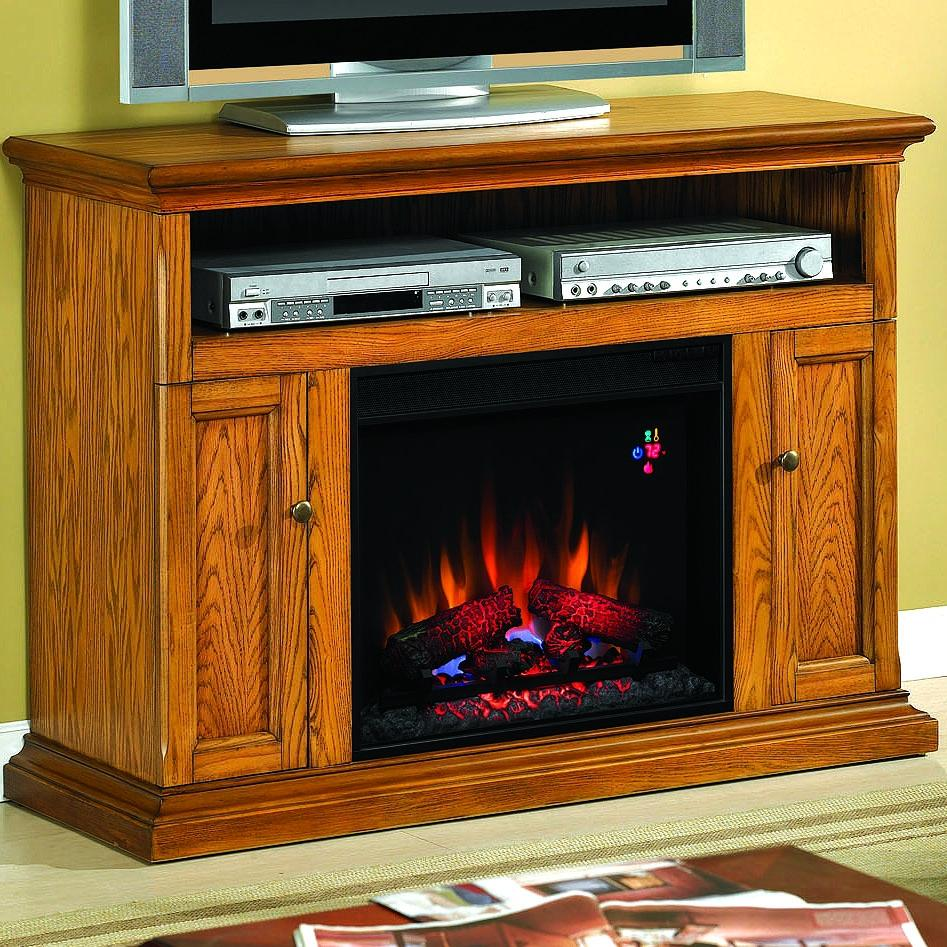 Cannes 47-inch Electric Fireplace Media Console - Antique Oak - 23mm378