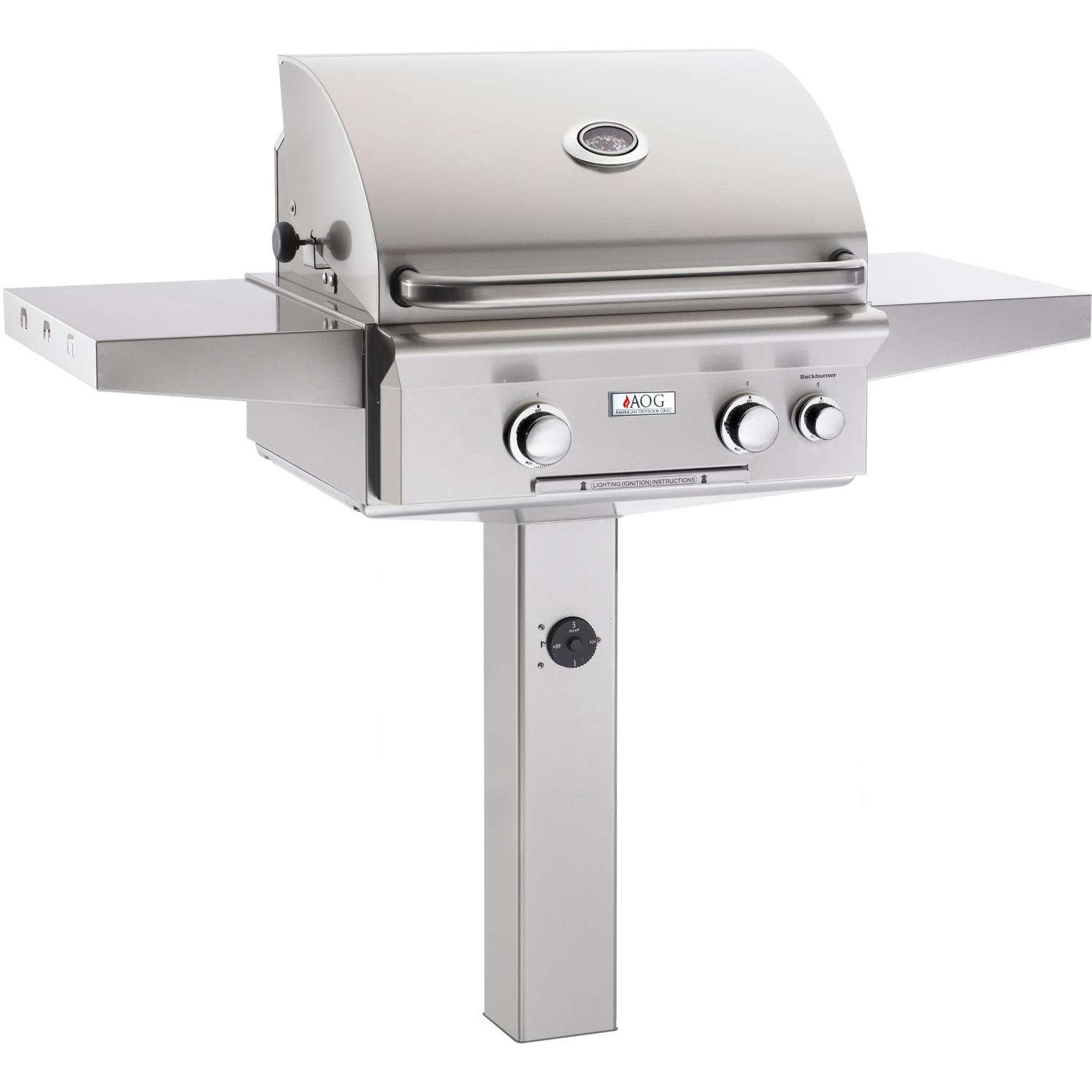American Outdoor Grill L-Series 24-Inch Propane Grill On In-Ground Post With Rotisserie 2894684