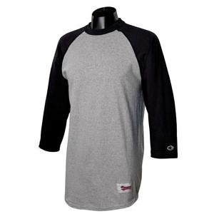 Champion Tagless Raglan Baseball T-Shirt Large - Oxford Grey/Black