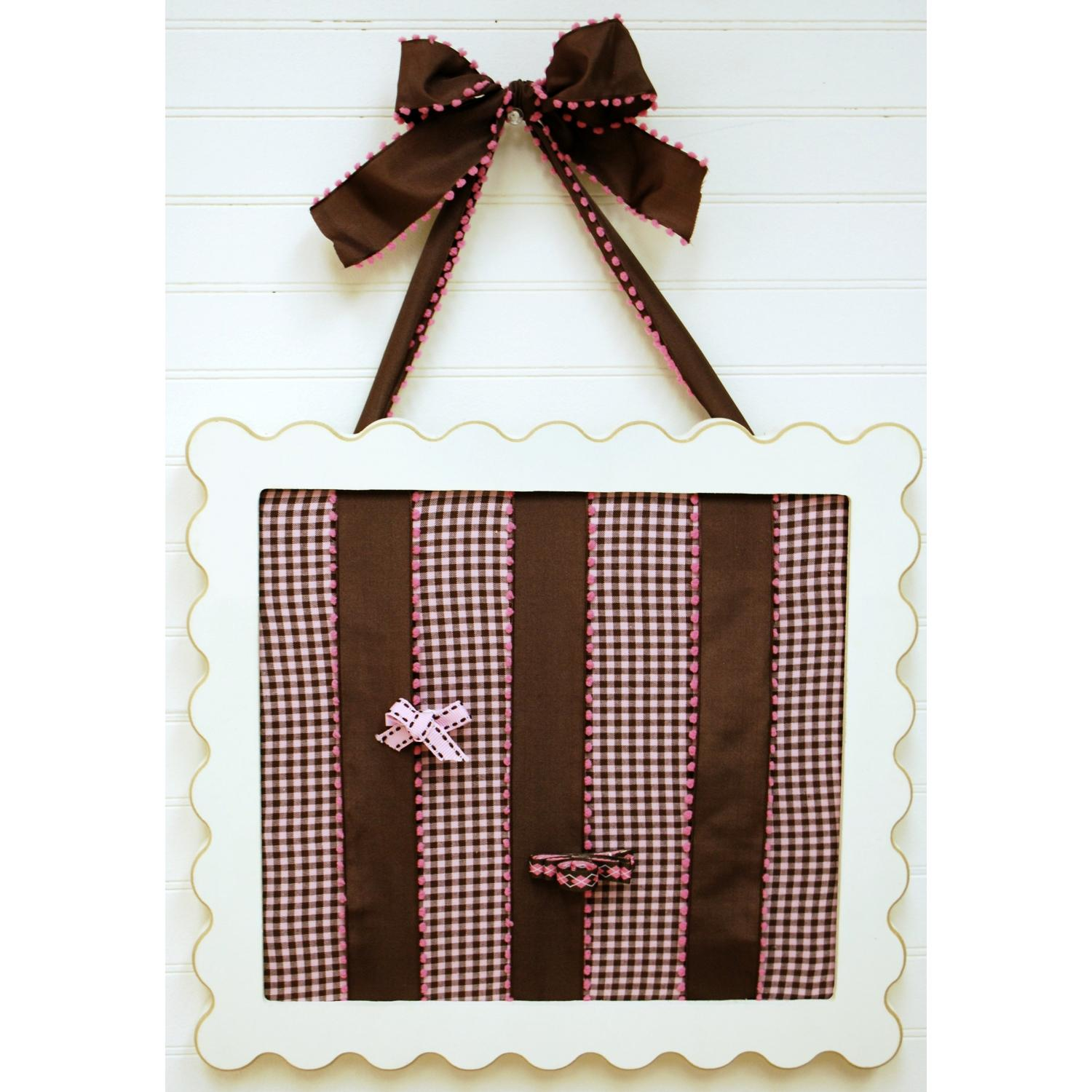 New Arrivals Barrette Holder - Pink And Chocolate Gingham With Brown Pink Pom Pom Ribbon