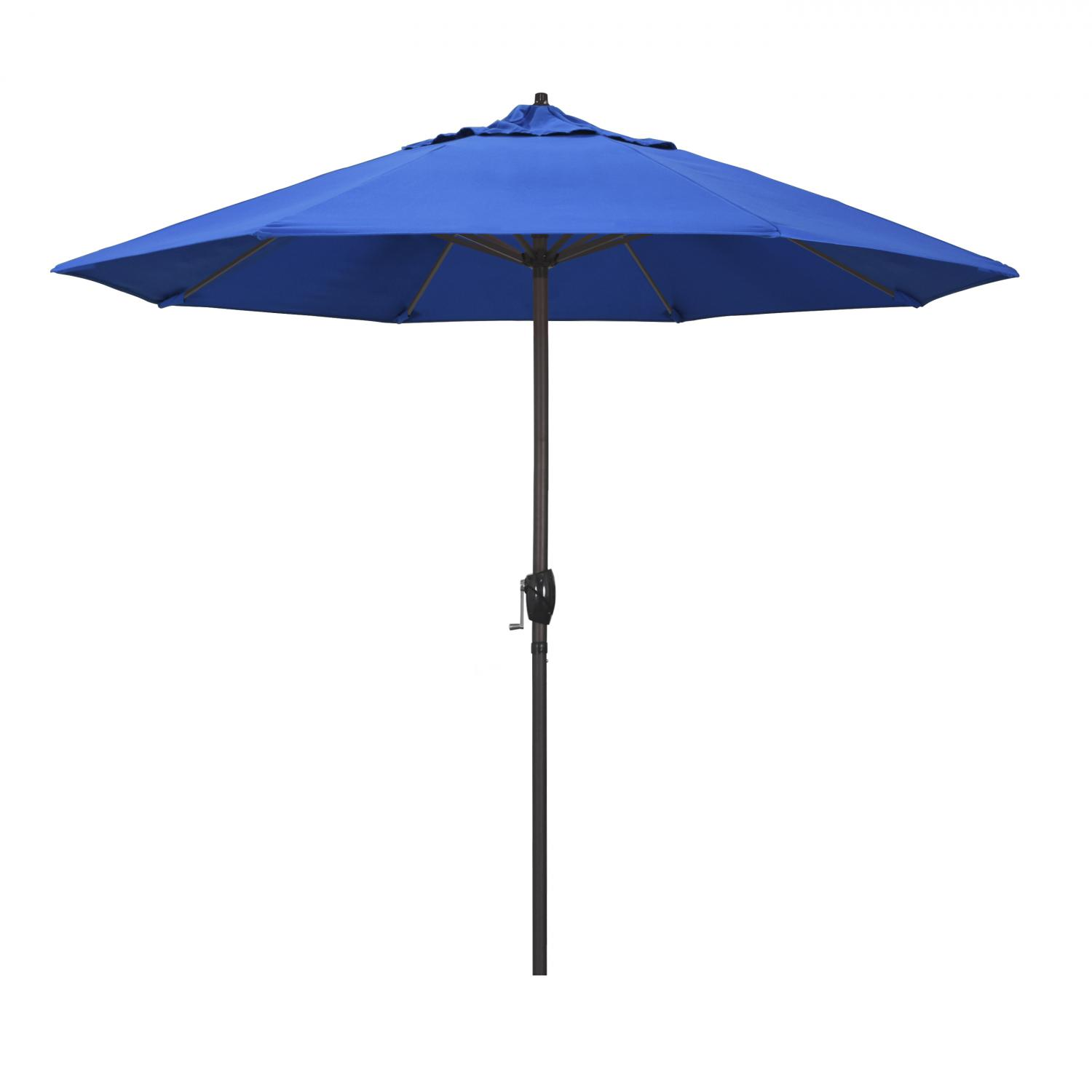 California Umbrella 9 Ft. Octagonal Aluminum Auto Tilt Patio Umbrella W/ Crank Lift & Aluminum Ribs - Bronze Frame / Royal Blue Canopy