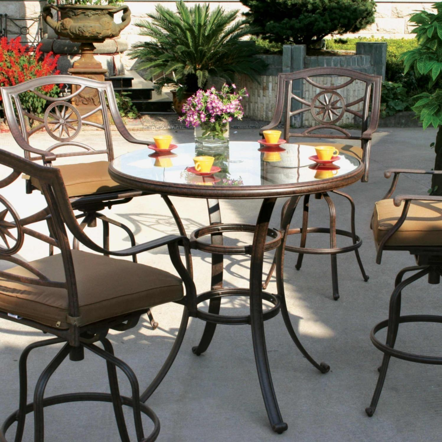 Darlee Ten Star 4-person Cast Aluminum Patio Bar Set With Glass Top Table - Antique Bronze at Sears.com