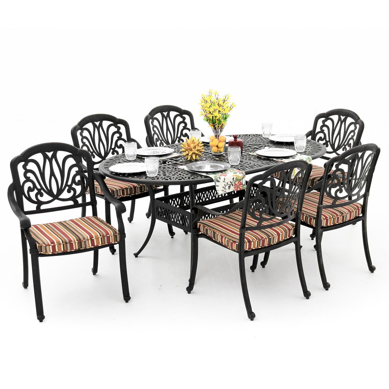 Rosedown 7 Piece Cast Aluminum Patio Dining Set With 72 X...