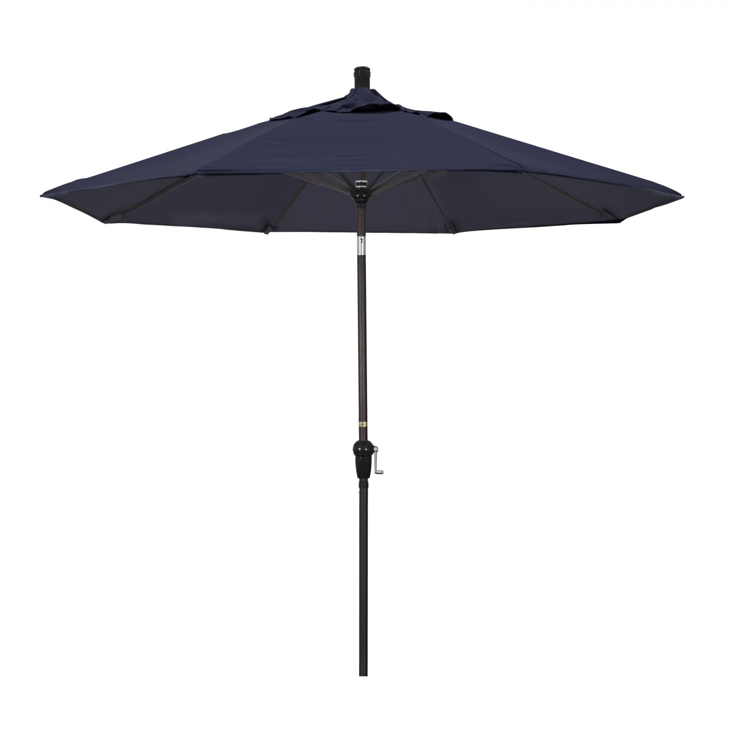 California Umbrella 9 Ft. Octagonal Aluminum Auto Tilt Patio Umbrella W/ Crank Lift & Aluminum Ribs - Bronze Frame / Sunbrella Canvas Navy Canopy