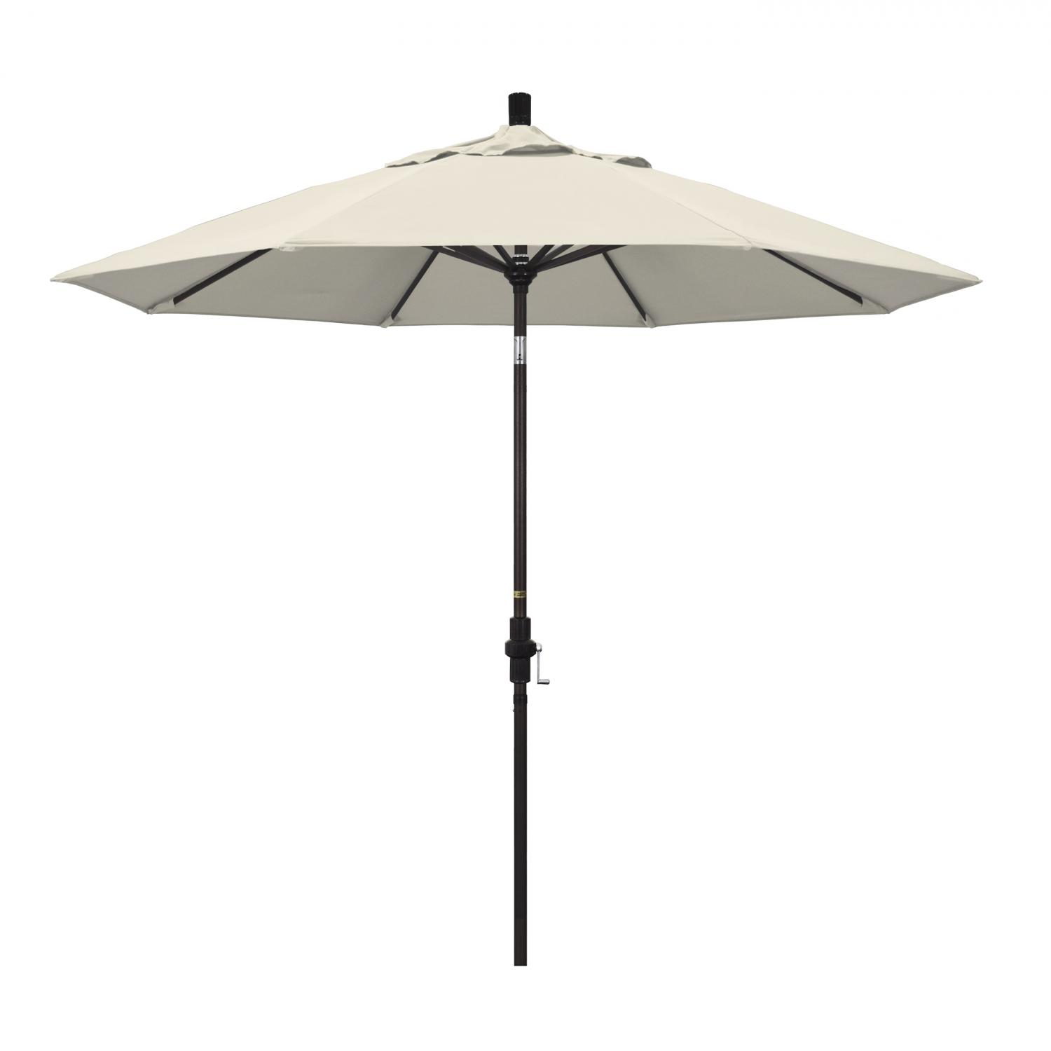 California Umbrella 9 Ft. Octagonal Aluminum Collar Tilt Patio Umbrella W/ Crank Lift & Aluminum Ribs - Bronze Frame / Olefin Antique Beige Canopy