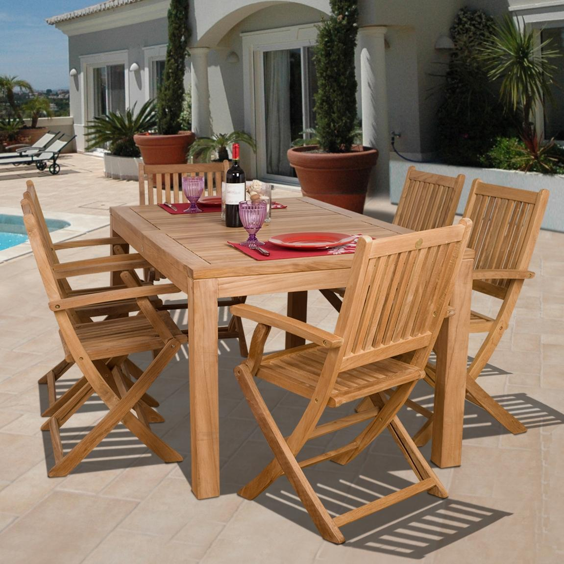 Amazonia Teak Budapest 6-person Teak Patio Dining Set With Folding Chairs