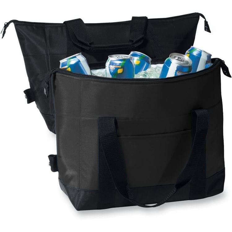 Augusta 12-Pack Two-Color Expandable Cooler - Black