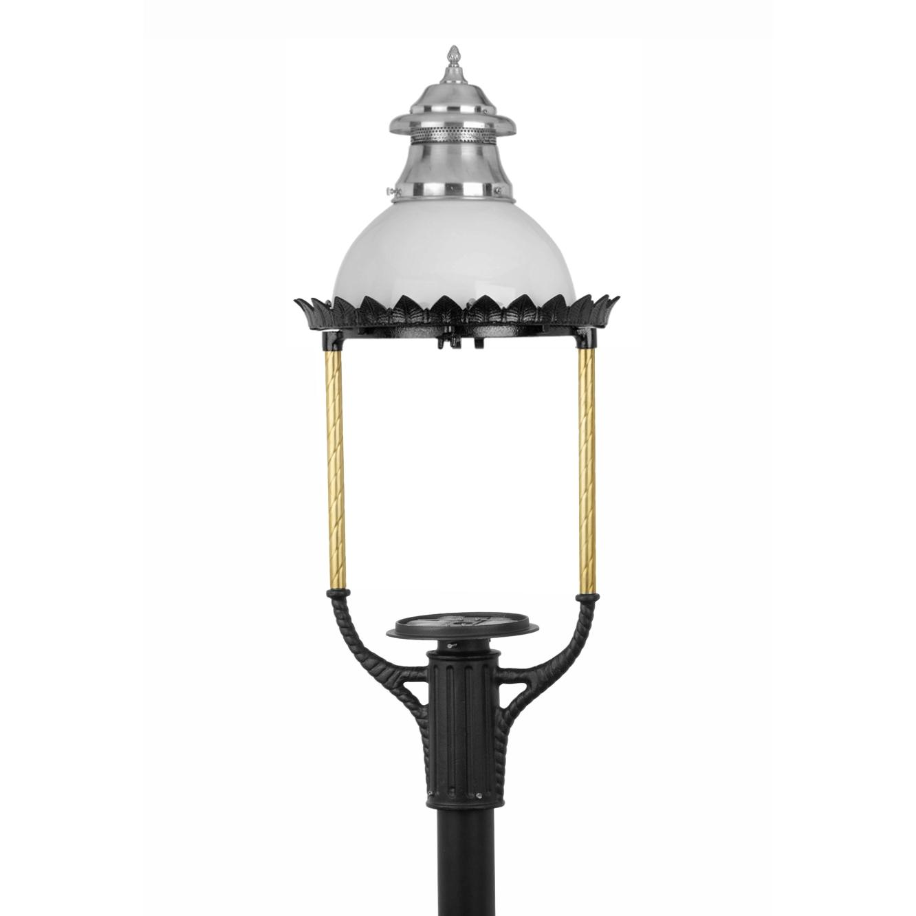 American Gas Lamp Works Gl36 Cast Aluminum Manual Ignition Natural Gas Light With Open Flame Burner For Post Mount