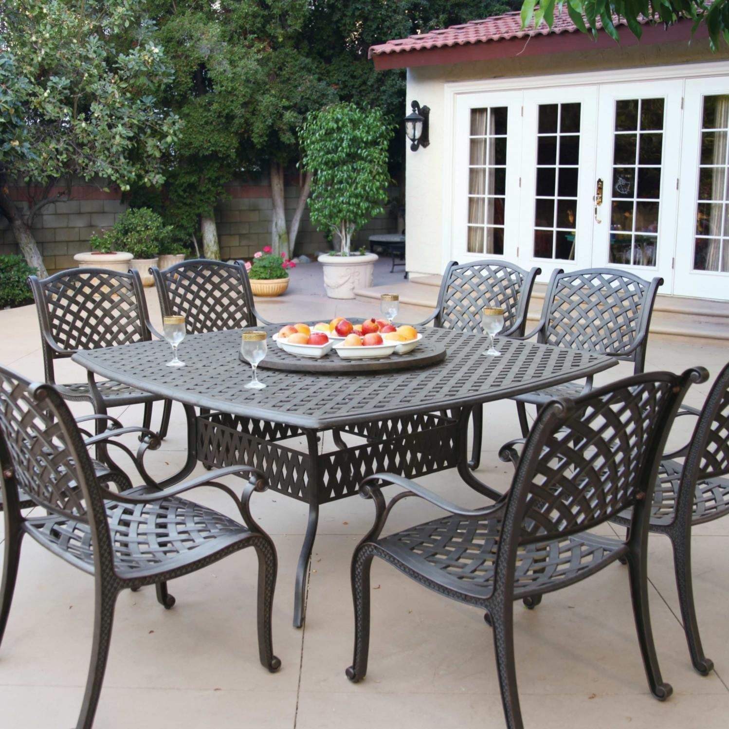 Lombardy 4 Person Sling Patio Dining Set With Glass Top