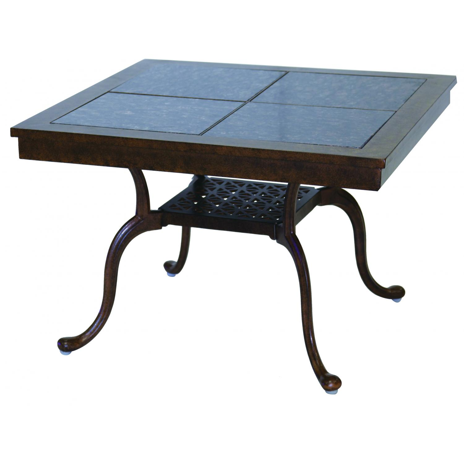 Darlee Series 77 Cast Aluminum Patio End Table With Granite Top - Antique Bronze / Brown Granite Tile at Sears.com