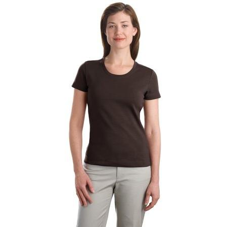 Port Authority Ladies Modern Stretch Cotton Scoop Neck Shirt Large - Dark Chocolate Brown