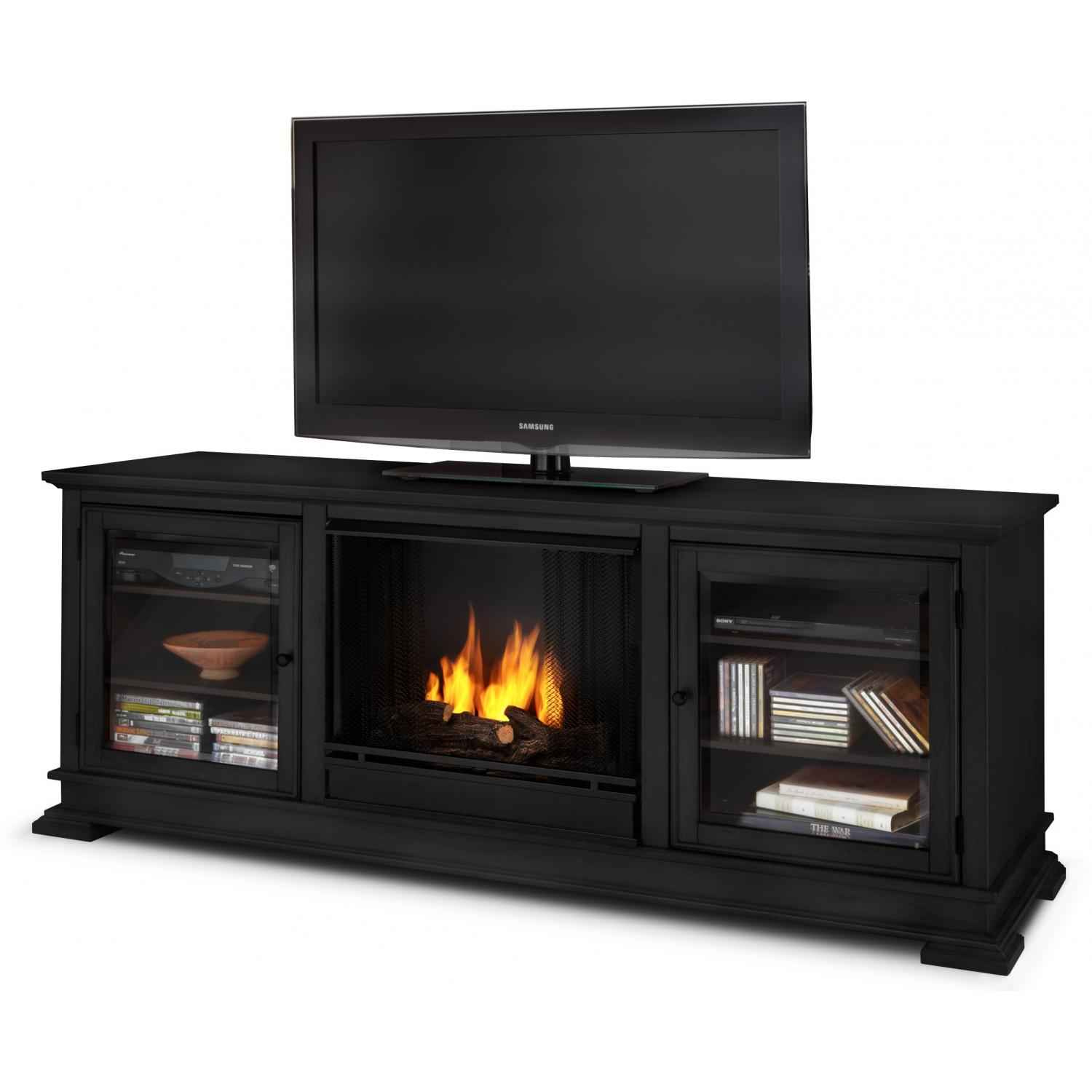 Real Flame Hudson 67-Inch Gel Fireplace Media Console - Black