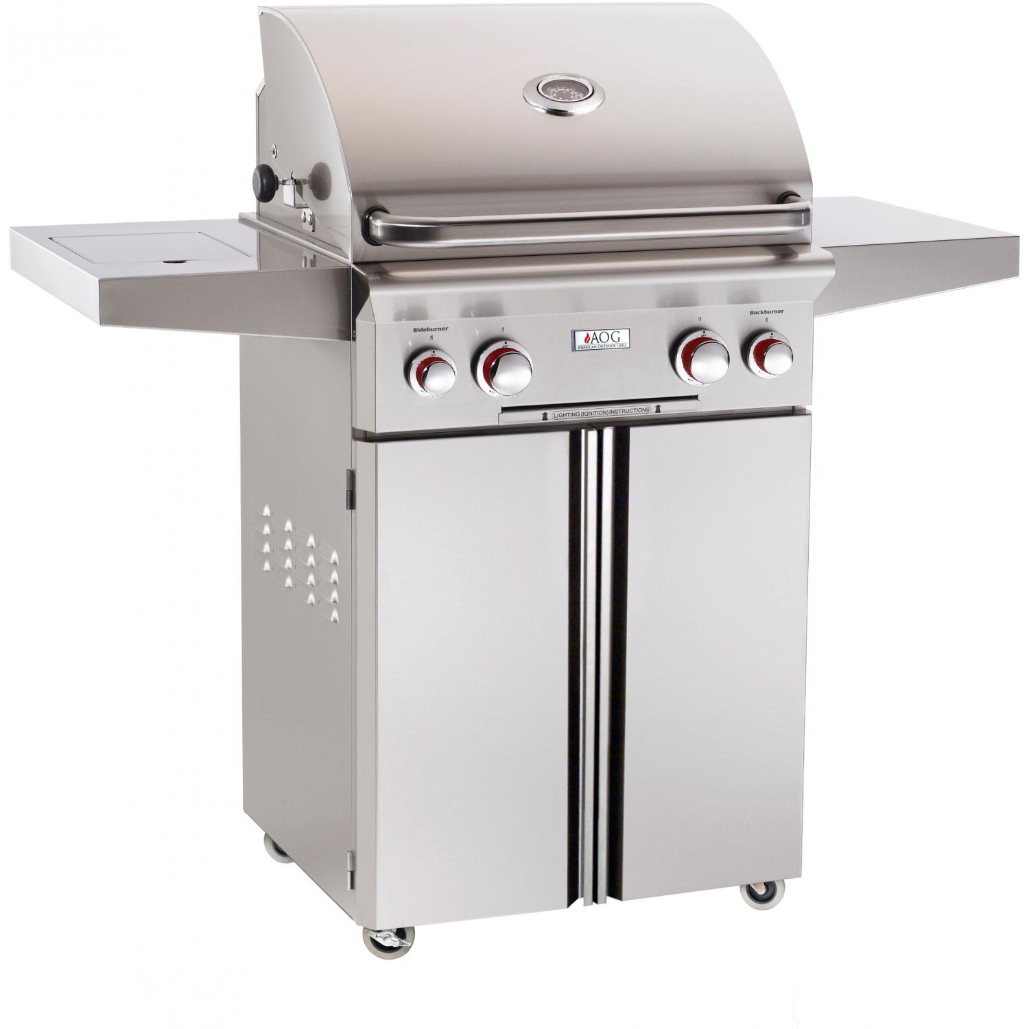 American Outdoor Grill T-Series 24-Inch Propane Gas Grill On Cart W/ Rotisserie & Side Burner 2894444