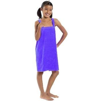 Terry Town Girls Terry Velour Body Wrap Towel Medium - Purple