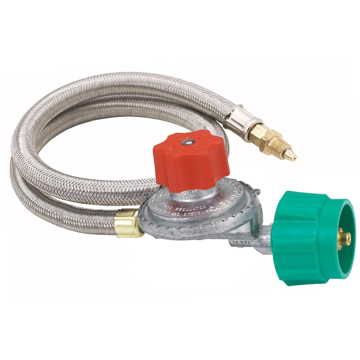 Bayou Classic 36 Inch High Pressure Stainless Braided Propane Hose And 10 PSI Adjustable Regulator