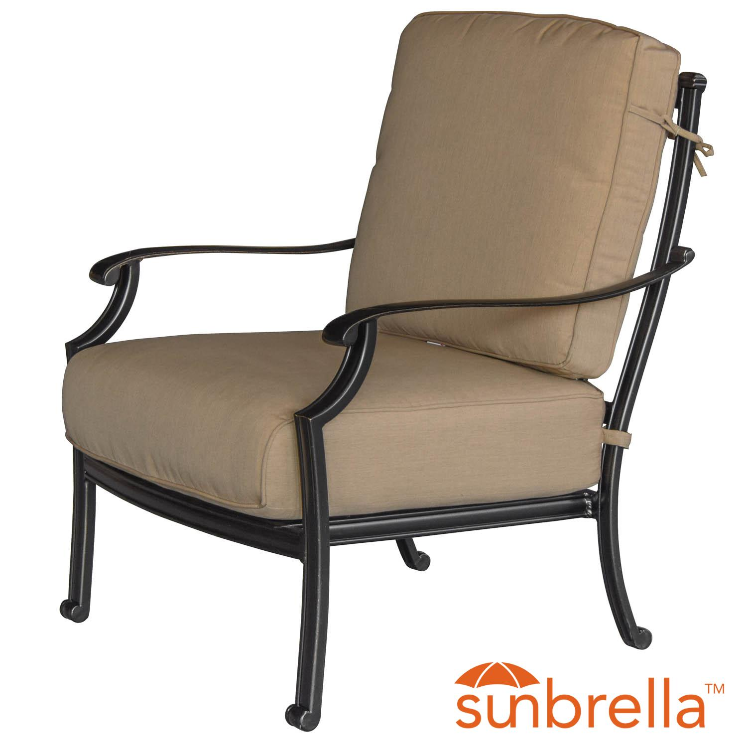 Bocage Cast Aluminum Patio Club Chair W/ Sunbrella Heathe...