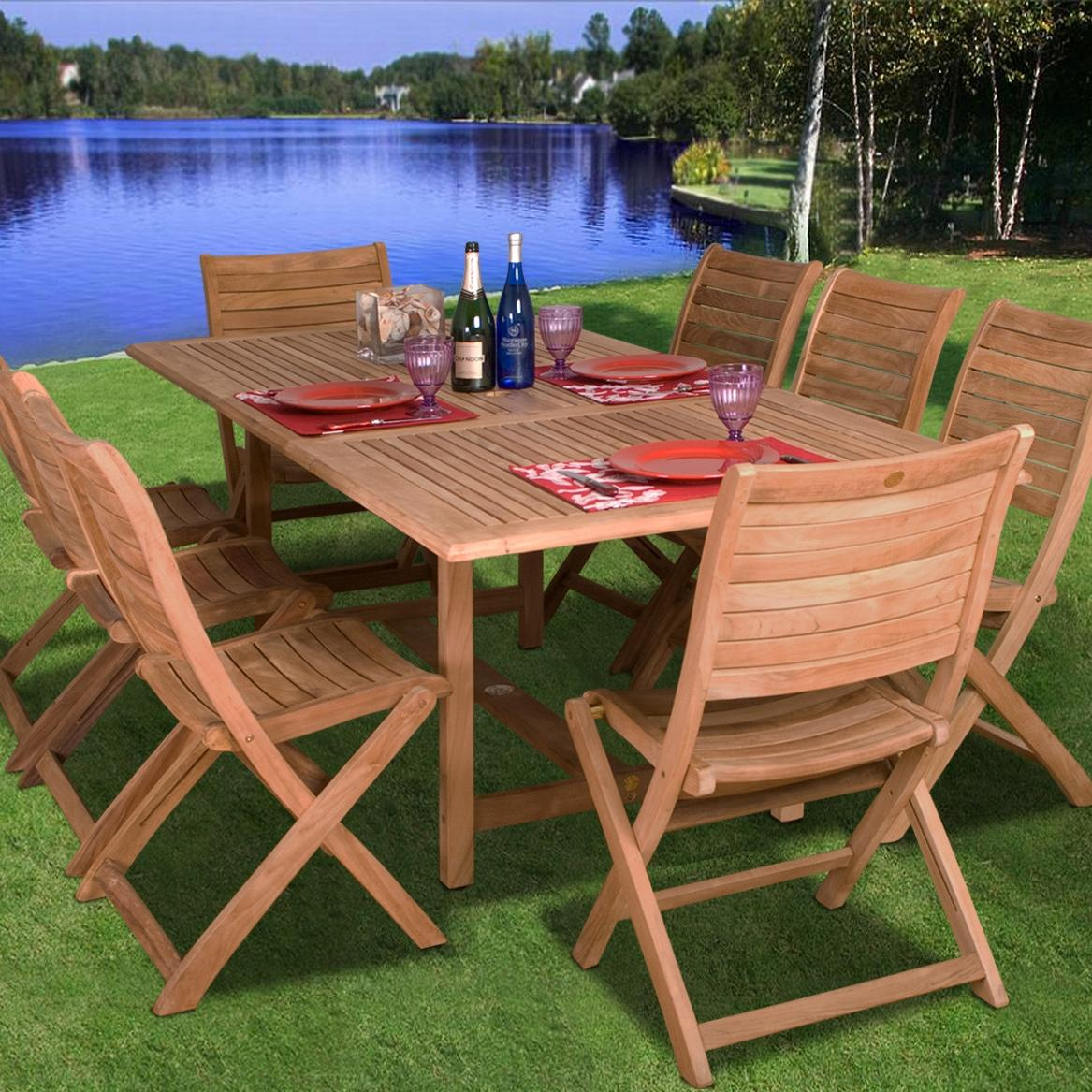 Amazonia Teak Dublin 8-person Teak Patio Dining Set With Extension Table And Folding Chairs