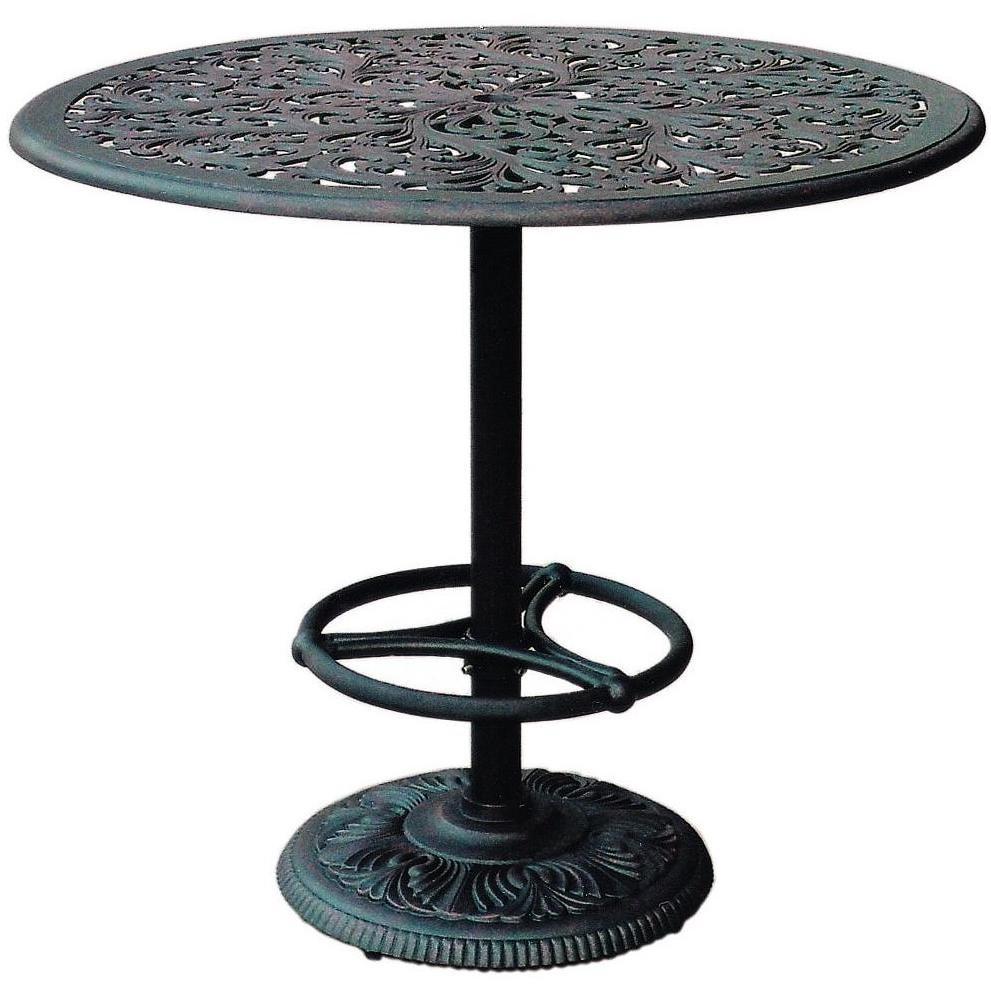 Darlee Catalina Pedestal Cast Aluminum Outdoor Patio Bar Table - 42 Inch Round - Antique Bronze
