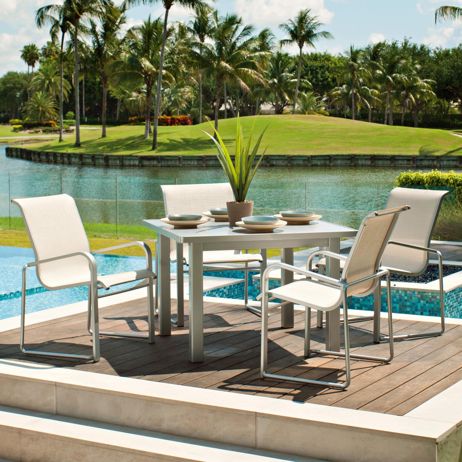 Oxford Garden Travira 6 Person Sling Patio Dining Set With