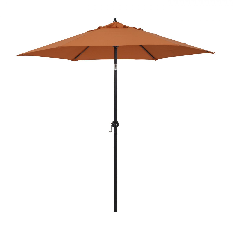 Astella 9 Ft. Aluminum Push Tilt Patio Umbrella W/ Crank Lift - Black Frame / Polyester Tuscan Canopy - Eco906d709-p17