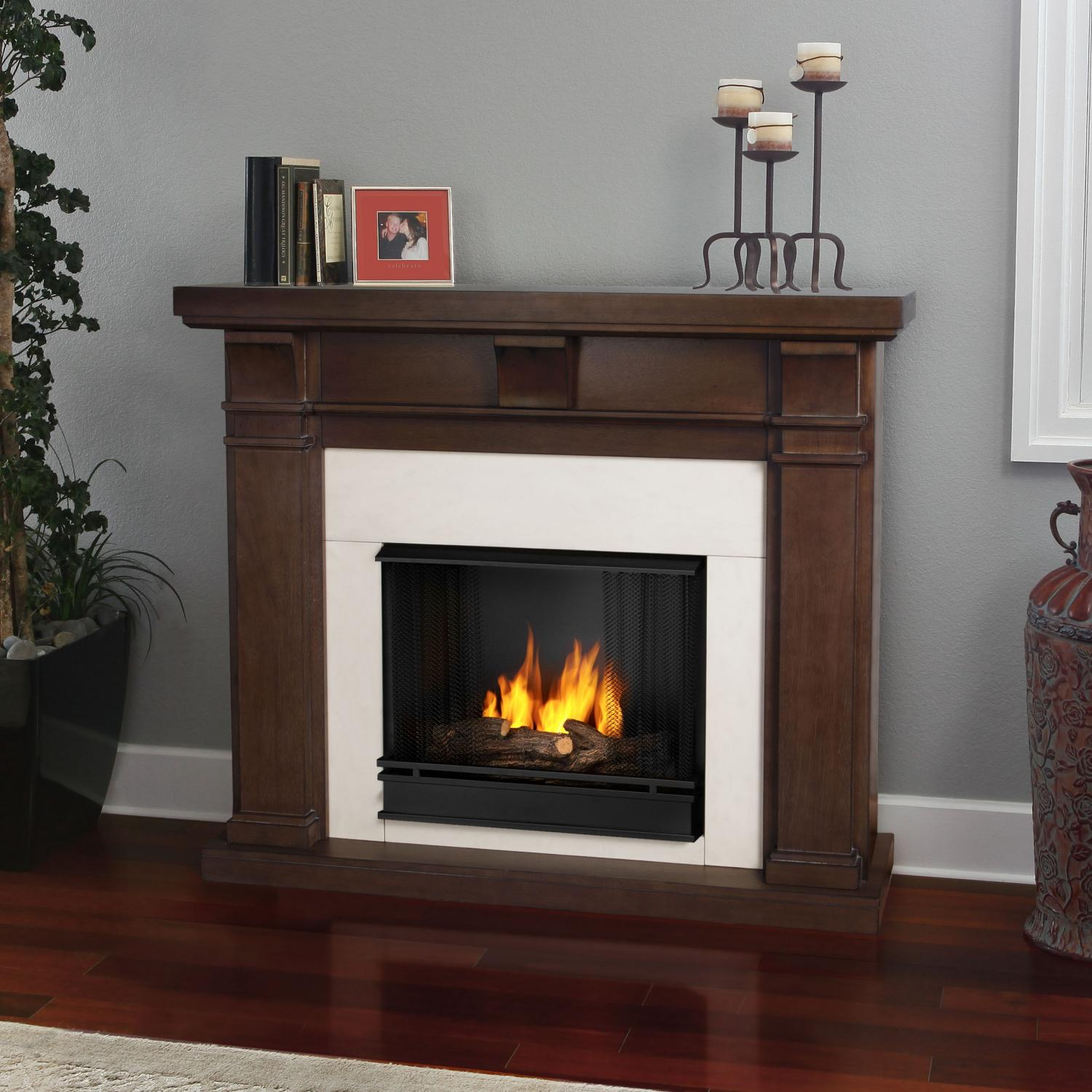 Real Flame Porter 49-Inch Gel Fireplace - Vintage Black Maple