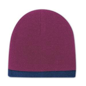 Otto Cap 8 Inch Acrylic Knit Trimmed Beanie - Maroon/Navy