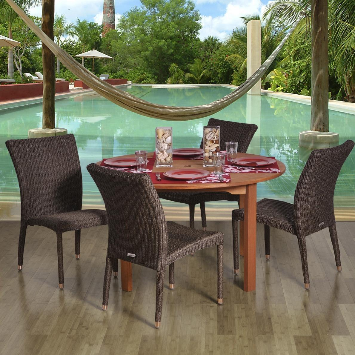 Amazonia Lorraine 4-Person Resin Wicker Patio Dining Set With Stacking Chairs 2866260
