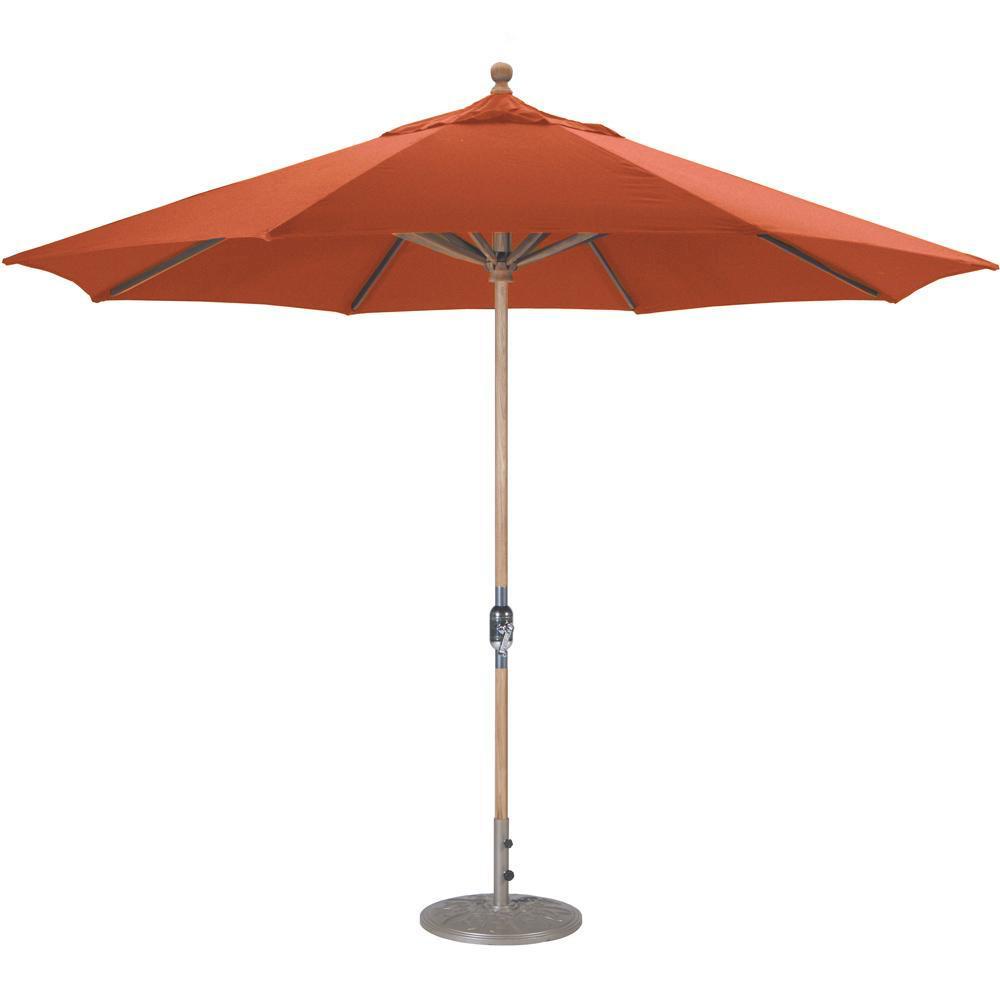 Galtech 11 Ft. Octagonal Teak Patio Market Umbrella W/ Cr...