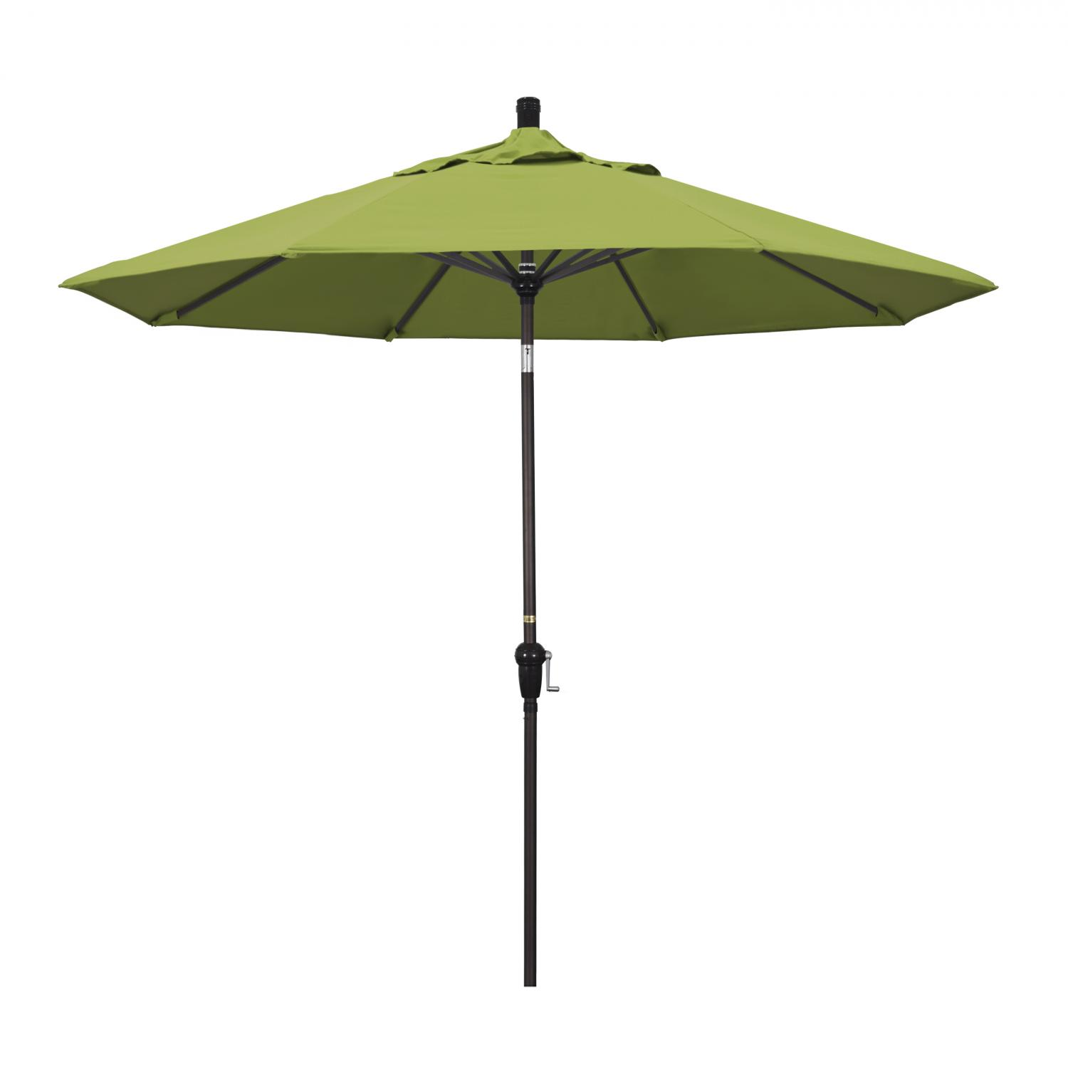 California Umbrella 9 Ft. Octagonal Aluminum Auto Tilt Patio Umbrella W/ Crank Lift & Aluminum Ribs - Bronze Frame / Sunbrella Canvas Macaw Canopy