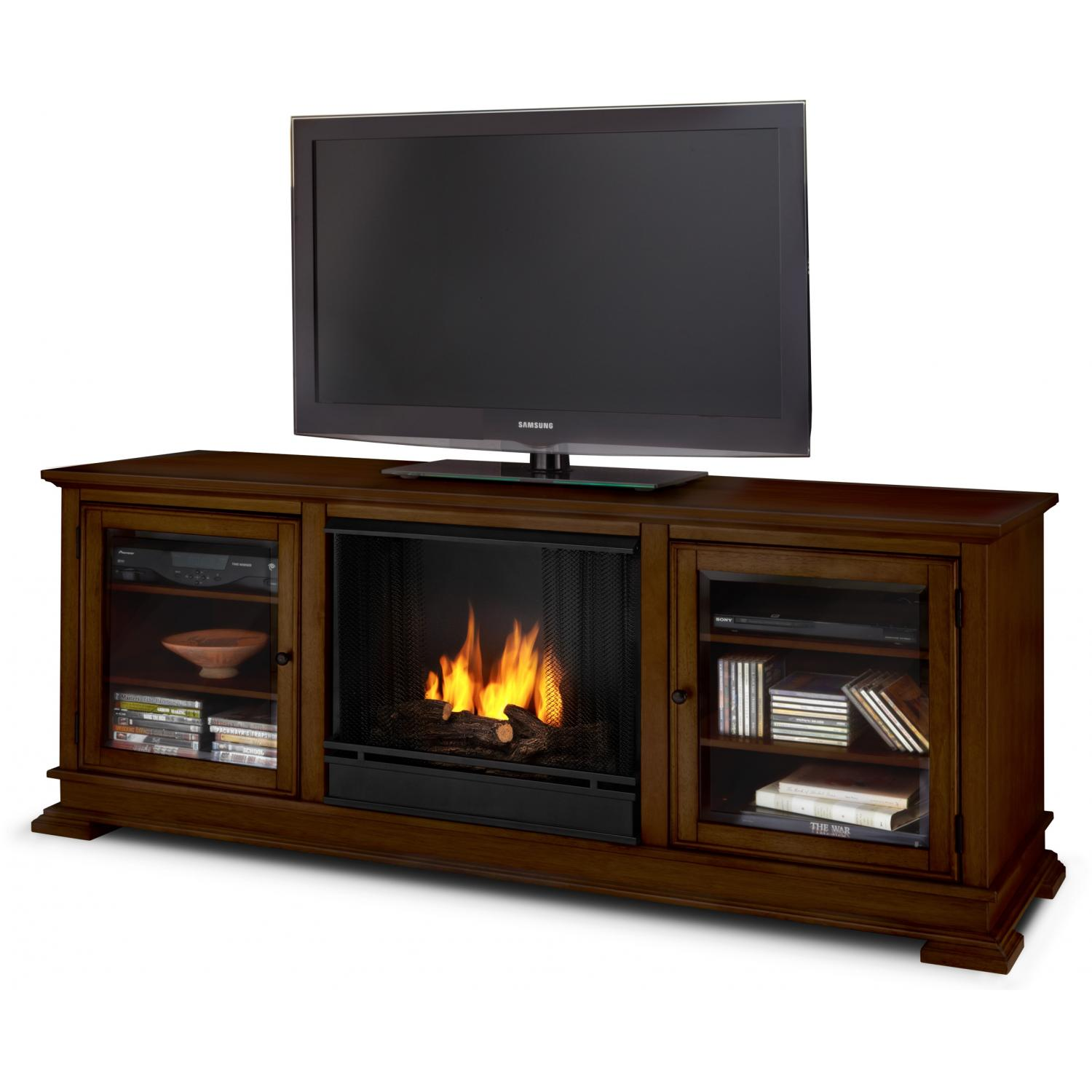 Real Flame Hudson 67-Inch Gel Fireplace Media Console - Espresso
