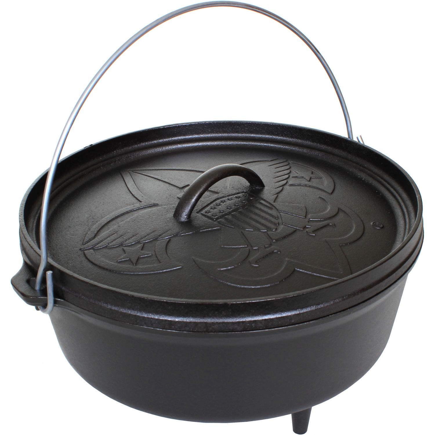 Lodge 6 quart boy scouts of america series cast iron for Cast iron dutch oven camping recipes