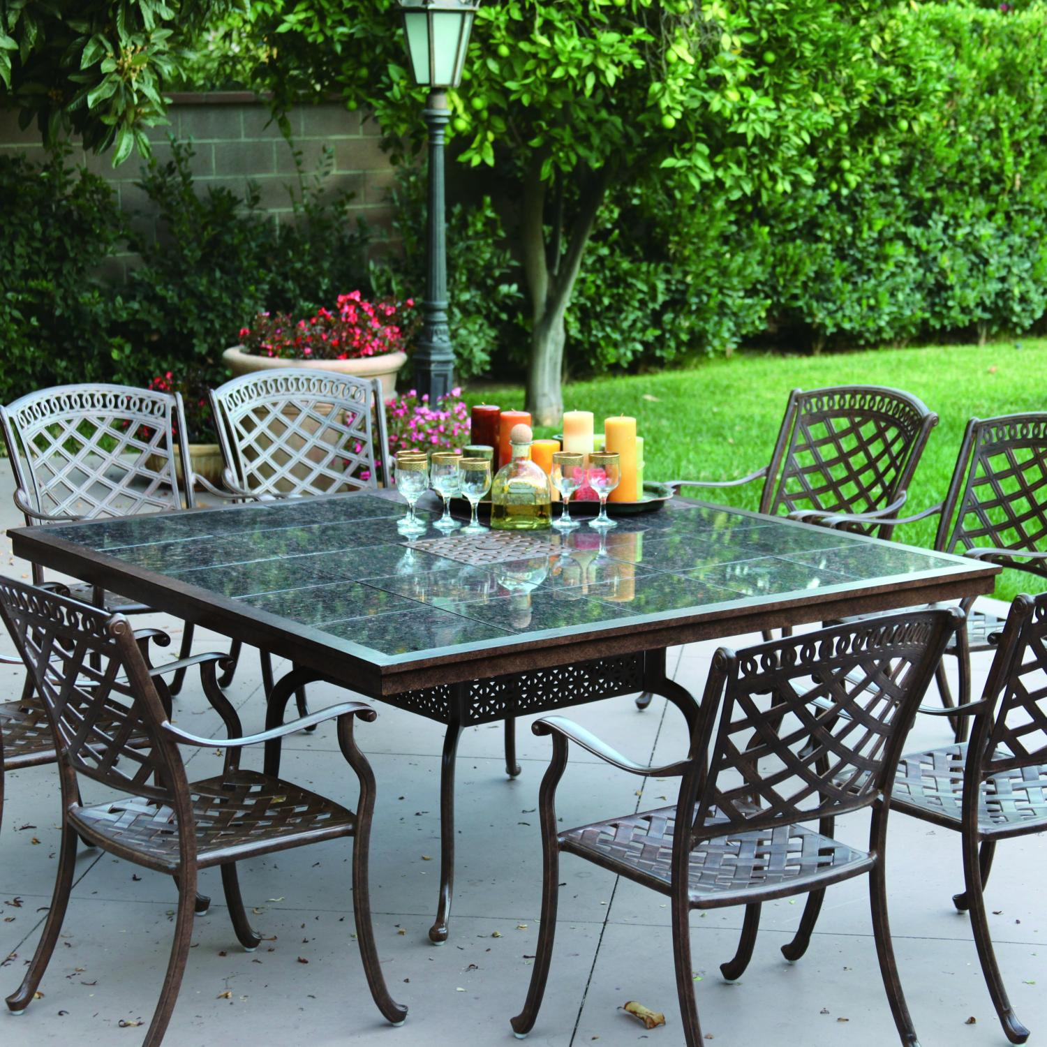 Darlee Sedona 8-person Cast Aluminum Patio Dining Set With Granite Top Table - Antique Bronze / Brown Granite Tile at Sears.com