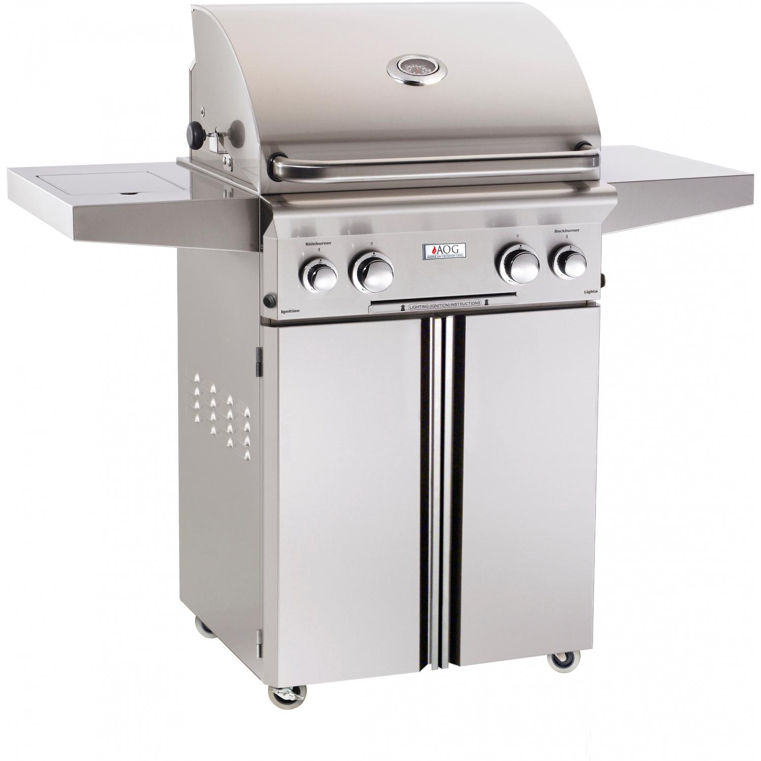 AOG American Outdoor Grill L-series 24-inch Natural Gas Grill On Cart With Rotisserie & Side Burner