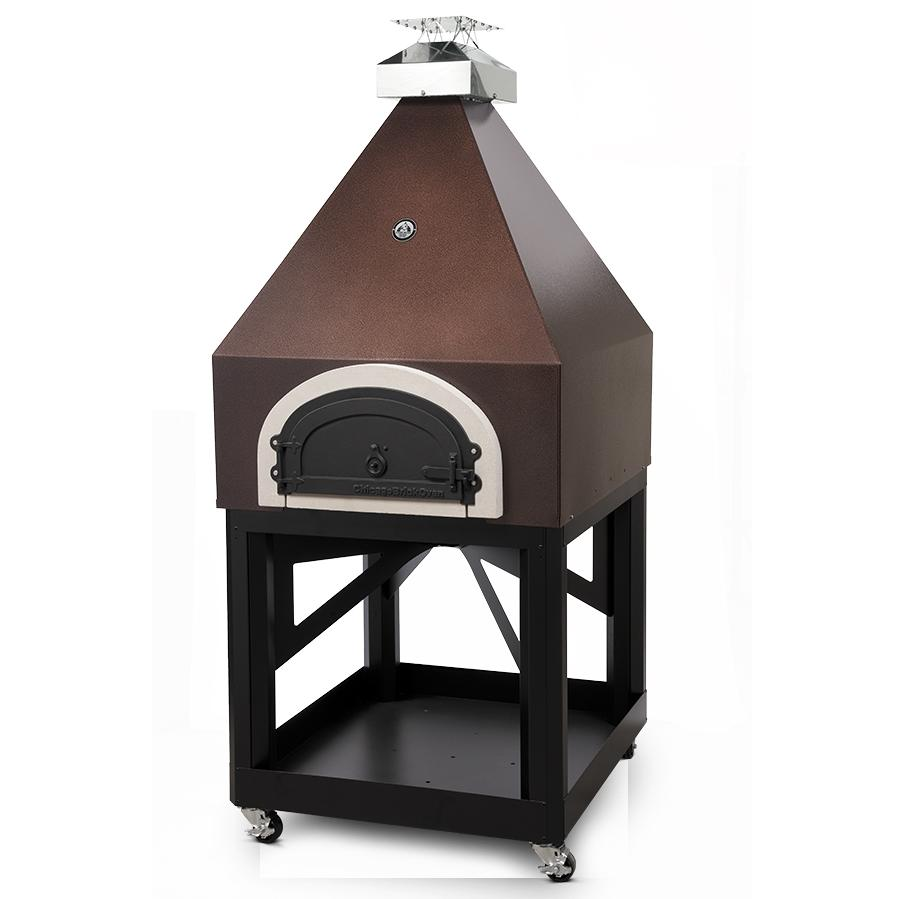 Chicago Brick Oven Cbo-750 Pyramid Outdoor Wood Fired Pizza Oven On Cart - Copper