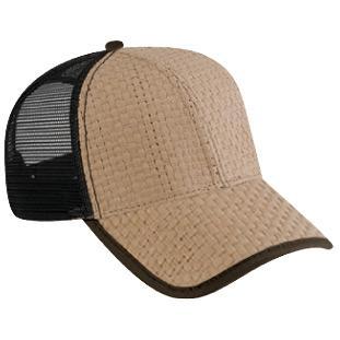 Otto Cap Toyo Straw Low Profile Mesh Back Pro-Style Sport Cap - Khaki/Dk.Brown