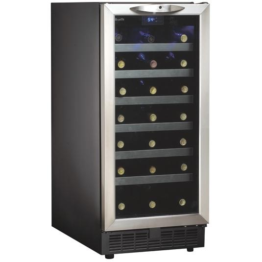 Danby DWC1534BLS 34 Bottle Silhouette Built-In Wine Cooler - Glass Door / Stainless Steel Trim