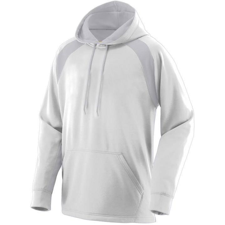 Augusta Fanatic Hooded Sweatshirt Small - White/Athletic Grey