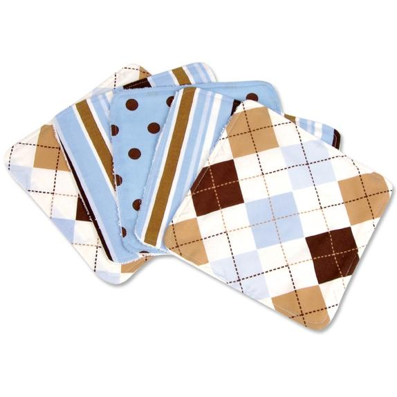 Trend Lab 5-Piece Wash Cloth Set - Prep School Blue