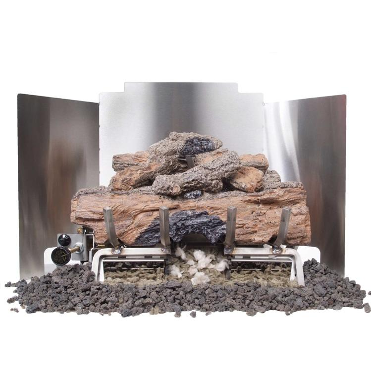 Peterson Gas Logs 18 Inch 3-Fold Contemporary Stainless Steel Fireback
