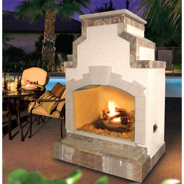 Cal Flame 48 Inch Outdoor Natural Gas Fireplace With Slanted Chimney