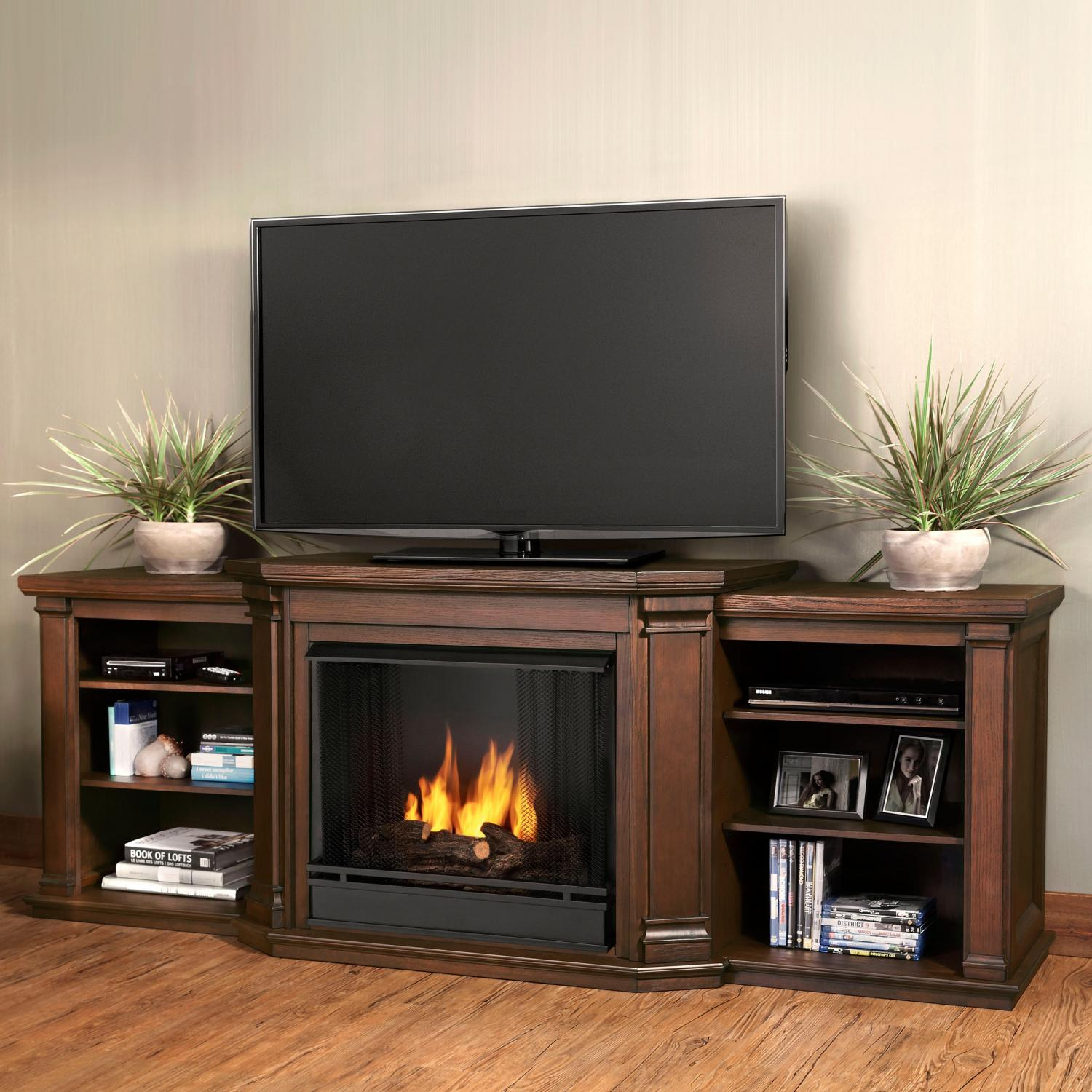 Real Flame Valmont 75-Inch Gel Fireplace Media Console - Chestnut Oak
