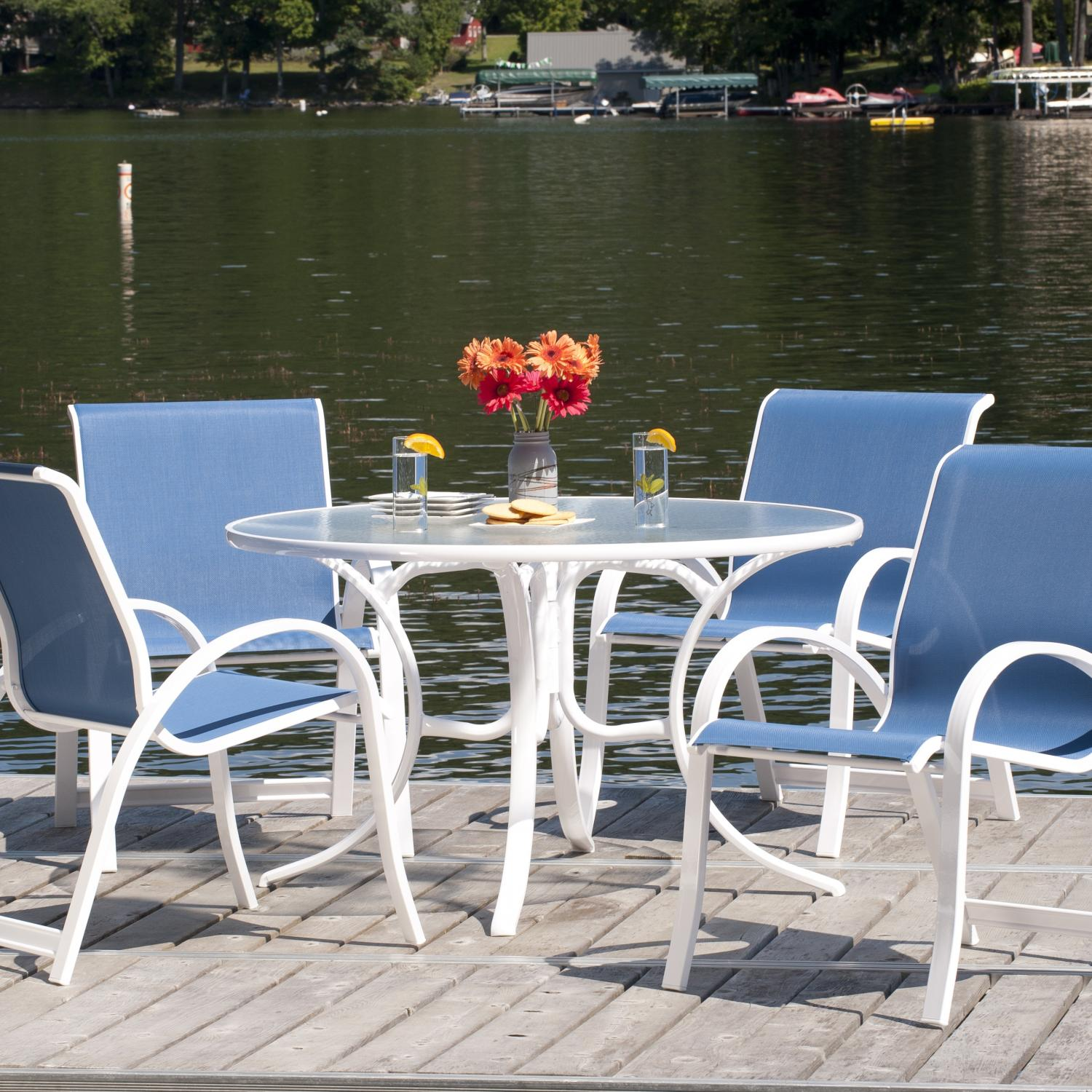 Telescope Casual Aruba Ii 4-person Sling Patio Dining Set With Stacking Chairs And Glass Top Table at Sears.com